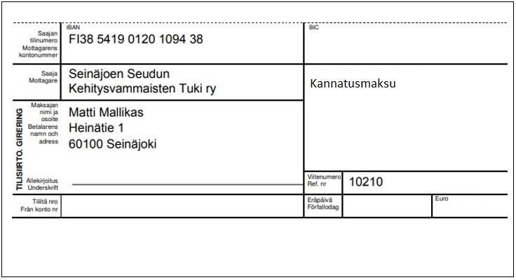 Kannatusjäsenen maksulomake.